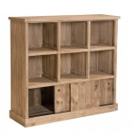 Buffet bas Westside pin naturel 6 cases 2 portes coulissantes L119x P39 x H110cm