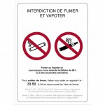 Pancarte A5 rigide ''interdiction de fumer et de vapoter'' Par 3