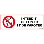 Panneau d'interdiction 'interdiction de fumer et vapoter' - 297 x 105 mm
