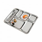 Plateau repas 6 compartiments bord rond inox 18 %