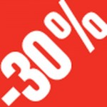 Sticker remise -30% 3.3x3.3cm rouge/blanc - par 500