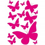 Stickers 13 papillons coloris fuchsias - 34 x 49 cm
